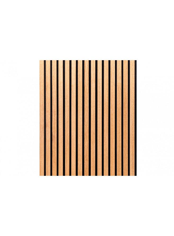 Ribbvägg eller akustikpanel i ek med linolja. Skapar en tidlös look och ger bättre akustik.