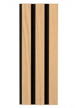 Ribbvägg eller akupanel i ek i grått.